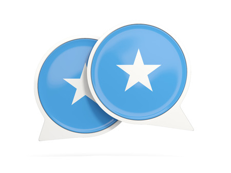 Speech bubbles with flag of somalia. Round chat icon isolated on white, 3D illustration Stock Photo