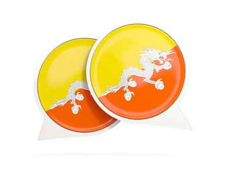 Speech bubbles with flag of bhutan. Round chat icon isolated on white, 3D illustration