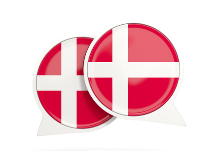 Speech bubbles with flag of denmark. Round chat icon isolated on white, 3D illustration