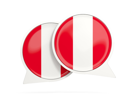 bandera de peru: Speech bubbles with flag of peru. Round chat icon isolated on white, 3D illustration
