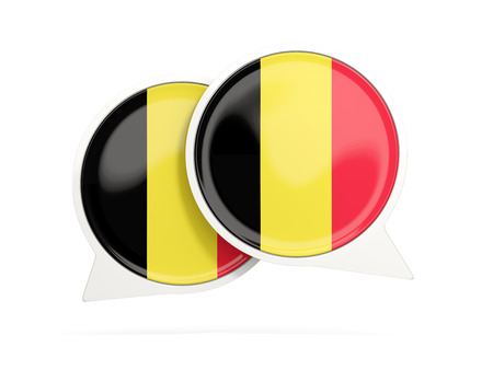 Speech bubbles with flag of belgium. Round chat icon isolated on white, 3D illustration