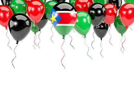 Flag of south sudan, with balloons frame isolated on white. 3D illustration