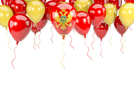 Flag of montenegro, with balloons frame isolated on white. 3D illustration Stock Photo