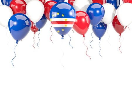 Flag of cape verde, with balloons frame isolated on white. 3D illustration Stock Photo
