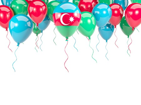 Flag of azerbaijan, with balloons frame isolated on white. 3D illustration Stock Photo
