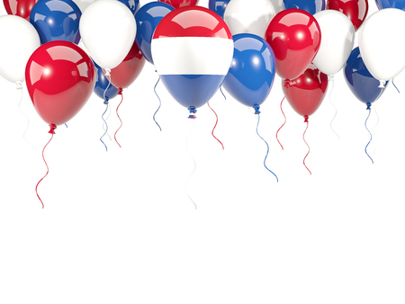 Flag of netherlands, with balloons frame isolated on white. 3D illustration