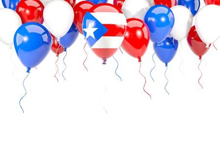 bandera de puerto rico: Bandera de Puerto Rico, con el marco de los globos aislado en blanco. ilustración 3D Foto de archivo