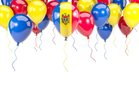 Flag of moldova, with balloons frame isolated on white. 3D illustration
