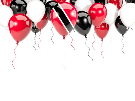 Flag of trinidad and tobago, with balloons frame isolated on white. 3D illustration