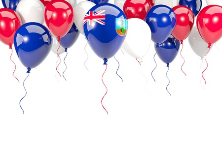 Flag of montserrat, with balloons frame isolated on white. 3D illustration