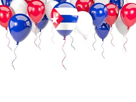 Bandera de Cuba, con el marco de los globos aislado en blanco. ilustración 3D Foto de archivo