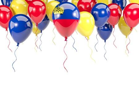 liechtenstein: Flag of liechtenstein, with balloons frame isolated on white. 3D illustration Stock Photo