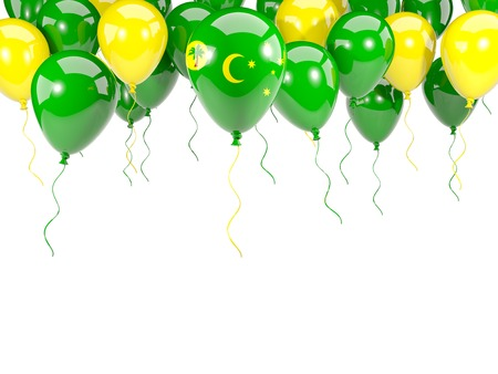 Flag of cocos islands, with balloons frame isolated on white. 3D illustration Stock Photo