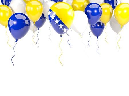 Flag of bosnia and herzegovina, with balloons frame isolated on white. 3D illustration