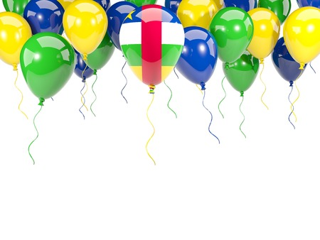 Flag of central african republic, with balloons frame isolated on white. 3D illustration
