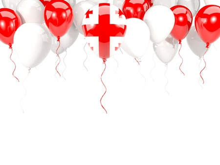 georgia: Flag of georgia, with balloons frame isolated on white. 3D illustration