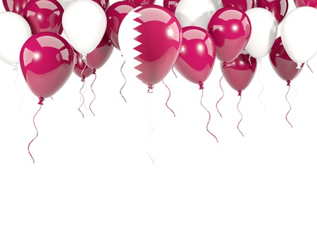 Flag of qatar, with balloons frame isolated on white. 3D illustration