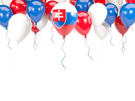Flag of slovakia, with balloons frame isolated on white. 3D illustration