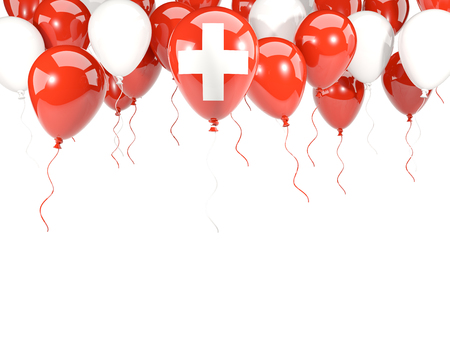 Flag of switzerland, with balloons frame isolated on white. 3D illustration