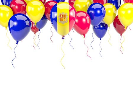 Flag of andorra, with balloons frame isolated on white. 3D illustration