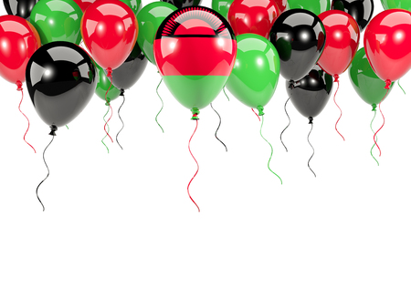 Flag of malawi, with balloons frame isolated on white. 3D illustration Stock Photo