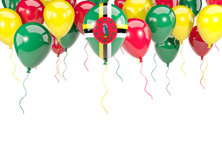 Flag of dominica, with balloons frame isolated on white. 3D illustration Stock Photo
