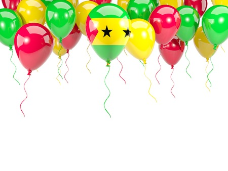 Flag of sao tome and principe, with balloons frame isolated on white. 3D illustration