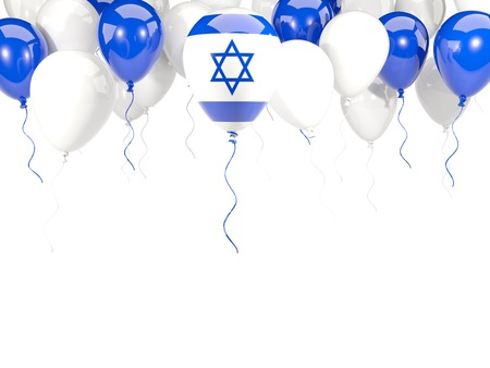 Flag of israel, with balloons frame isolated on white. 3D illustration Stock Photo