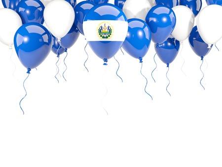 bandera de el salvador: Bandera de El Salvador, con el marco de los globos aislado en blanco. ilustración 3D