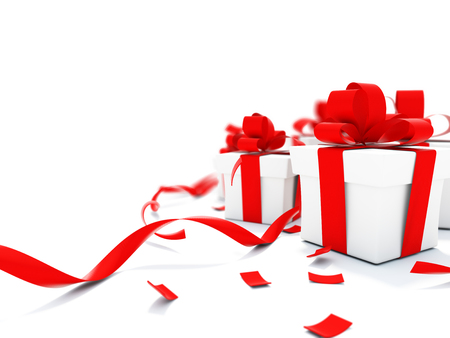 christmass: Christmass presents with red ribbons isolated on white. 3D illustration with depth of field Stock Photo