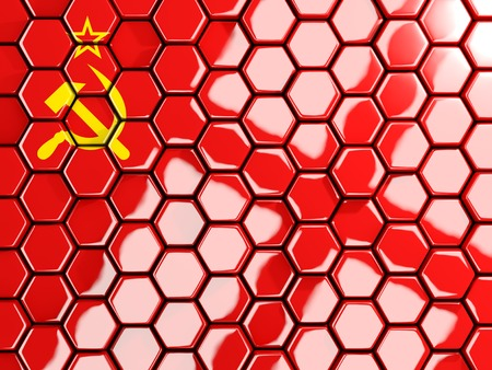 the ussr: Flag of ussr, hexagon mosaic background. 3D illustration