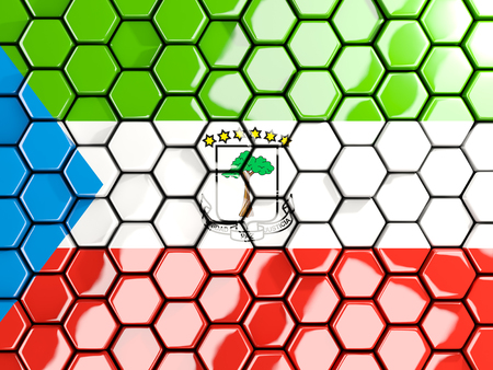Flag of equatorial guinea, hexagon mosaic background. 3D illustration Stock Photo