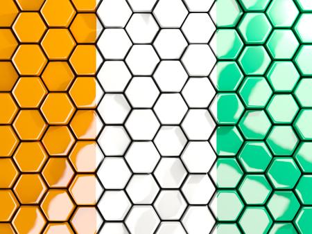 Flag of cote d Ivoire, hexagon mosaic background. 3D illustration