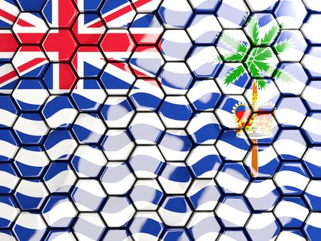 indian ocean: Flag of british indian ocean territory, hexagon mosaic background. 3D illustration Stock Photo