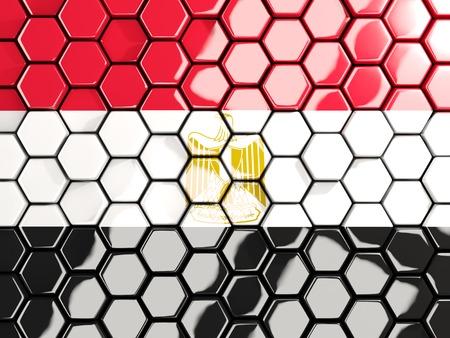 Flag of egypt, hexagon mosaic background. 3D illustration