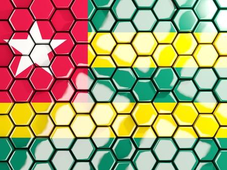 Flag of togo, hexagon mosaic background. 3D illustration