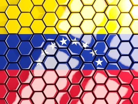 bandera de venezuela: Bandera de venezuela, fondo de mosaico hexagonal. Ilustración 3D