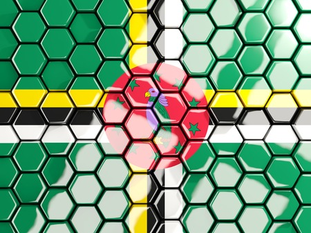Flag of dominica, hexagon mosaic background. 3D illustration