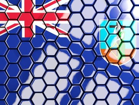 Flag of montserrat, hexagon mosaic background. 3D illustration Stock Photo