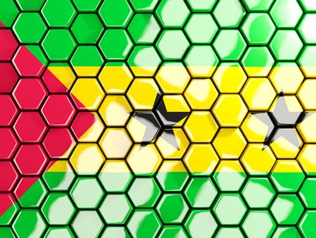 principe: Flag of sao tome and principe, hexagon mosaic background. 3D illustration