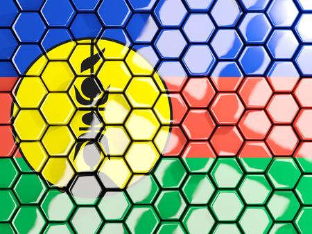 Flag of new caledonia, hexagon mosaic background. 3D illustration