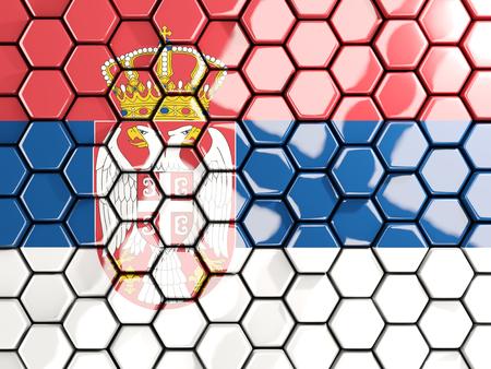 Flag of serbia, hexagon mosaic background. 3D illustration Stock Photo