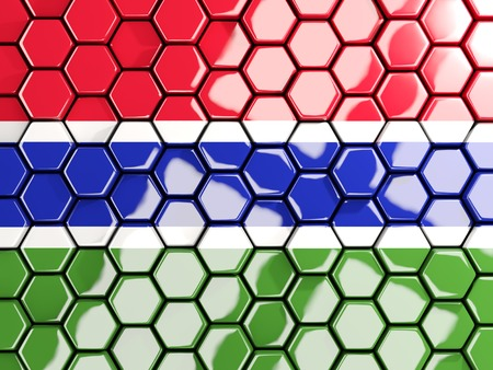 gambia: Flag of gambia, hexagon mosaic background. 3D illustration