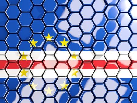 verde: Flag of cape verde, hexagon mosaic background. 3D illustration