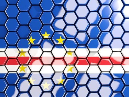 Flag of cape verde, hexagon mosaic background. 3D illustration