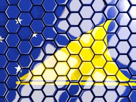 tokelau: Flag of tokelau, hexagon mosaic background. 3D illustration