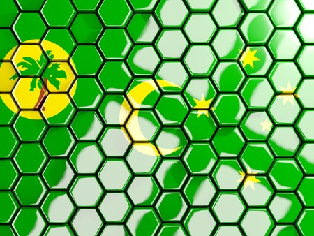 Flag of cocos islands, hexagon mosaic background. 3D illustration Stock Photo