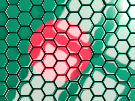 Flag of bangladesh, hexagon mosaic background. 3D illustration