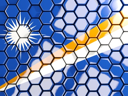 marshall: Flag of marshall islands, hexagon mosaic background. 3D illustration