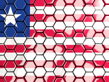Flag of liberia, hexagon mosaic background. 3D illustration